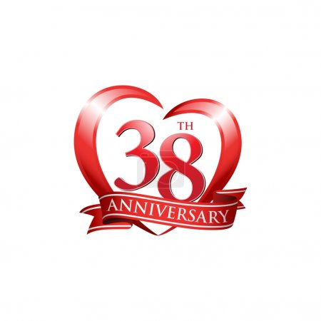 38th anniversary logo red heart