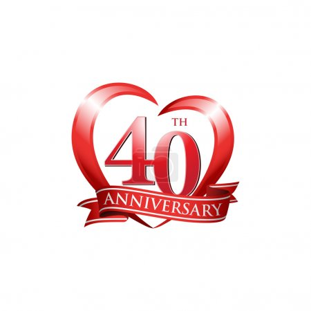 40th anniversary logo red heart