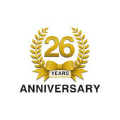 26th anniversary golden wreath logo