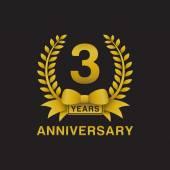 """Постер, картина, фотообои """"3-й годовщины золотой венок логотип черный фон"""""""