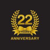 22nd anniversary golden wreath logo black background
