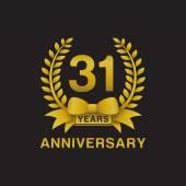 31st anniversary golden wreath logo black background