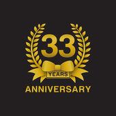 33rd anniversary golden wreath logo black background