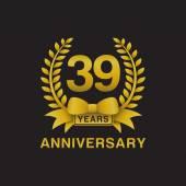 39th anniversary golden wreath logo black background