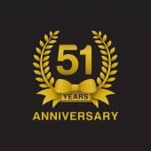 51st anniversary golden wreath logo black background