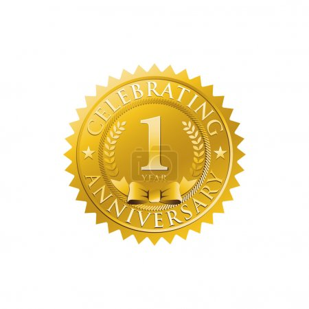 1st anniversary golden badge logo