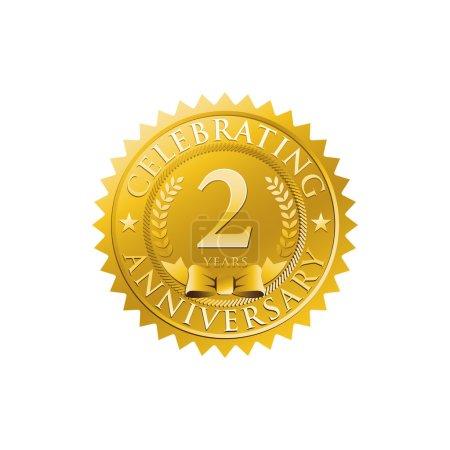 2nd anniversary golden badge logo