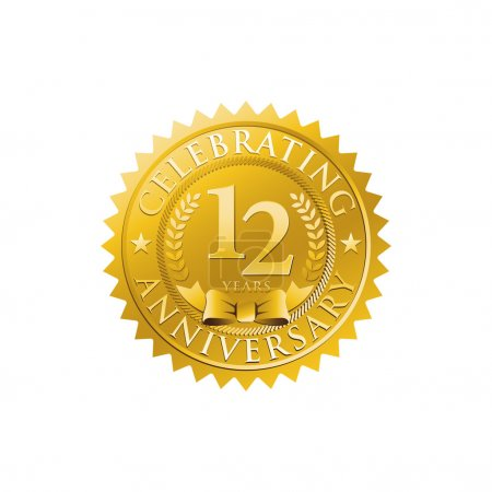 12th anniversary golden badge logo