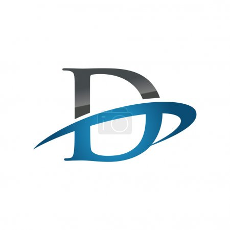 D blue initial company swoosh logo