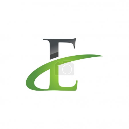E green initial company swoosh logo