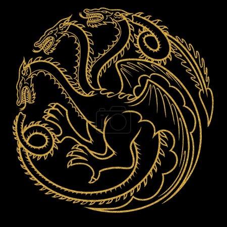 Photo pour Illustration de dragon or tatouage - image libre de droit