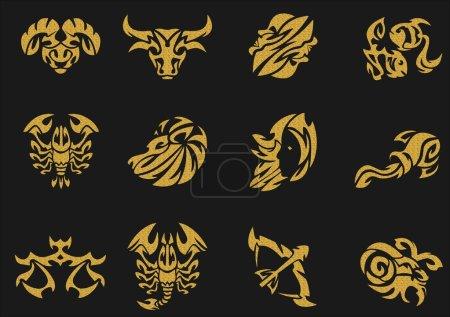 Gold zodiac signs sets