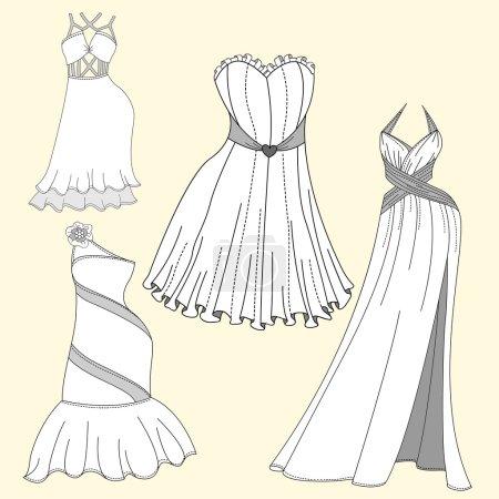 Conception de vêtements. Robes de soirée femme