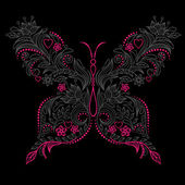 Abstract Floral Butterfly. Vector illustration
