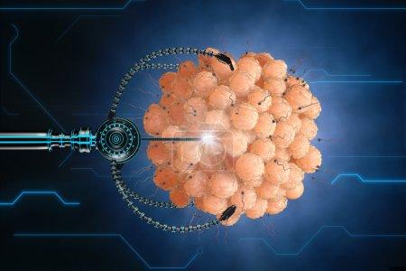 Nanorobot fertilizes the cell egg. Medical concept...