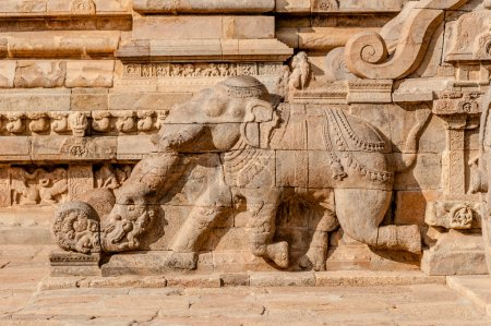 Rock carving of an elephant