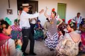 Pilgrims celebrating in flamenco style