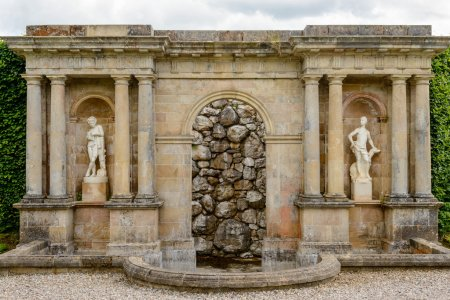 Stone water fountain at Drummond Castle