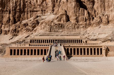 LUXOR, EGYPT - NOVEMBER 26, 2011: Tourists on stai...