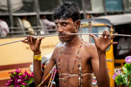 Hindu devotee on Thaipusam festival