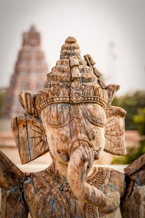 Carved wooden Lord Ganesh