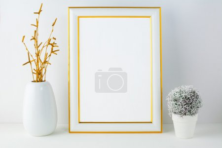 Frame mockup with small cactus