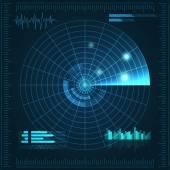 Modré radaru. Vektorové ilustrace pro svůj design. Technologické zázemí. Futuristické uživatelské rozhraní. HUD