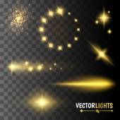 Golden glow special effect light flare star and burst
