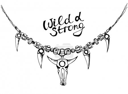 Hand drawn necklace, boho style, wild and strong