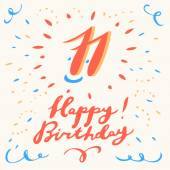 11th Happy Birthday card.