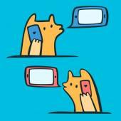 Lovers talking on smart phones