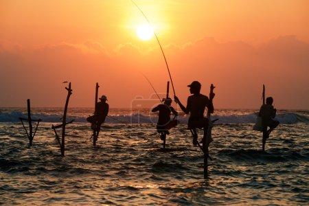 Silhouettes of fishermen