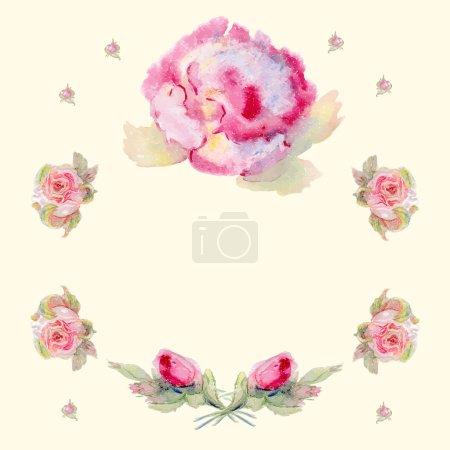 Floral wreath in watercolor