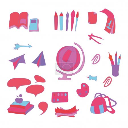 School set of vector objects. Various colorful school supplies