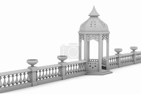 White fence with pergola