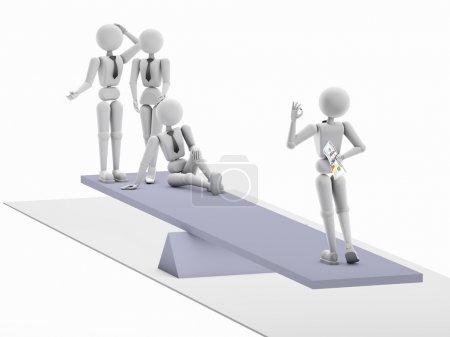 Photo for 3D illustration. Puppet person, white human. Swing weight compared to a group of enterprising people with one men, but having financial. Isolated, cutout, white background. Soft shadow. Copy space - Royalty Free Image