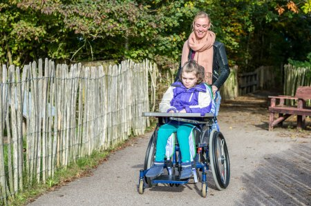Disabled child in a wheelchair