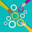People hands hold colorful gears - mechanism syste...