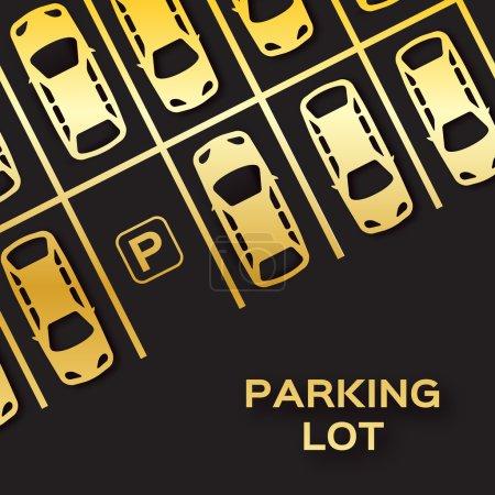 Illustration pour Feuille d'or Vue du dessus Conception du stationnement. Beaucoup de voitures garées sur fond noir. Illustration vectorielle . - image libre de droit