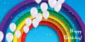 Realistic Colorful 3d Balloons fly to sky Blue sky with origami clouds and rainbow Happy Birthday Title Vector applique illustration