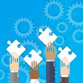 Hands together team work