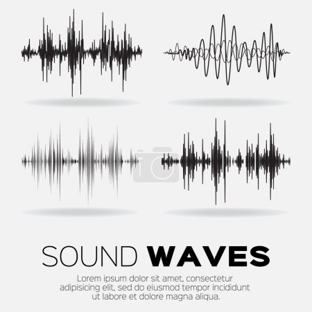 Vector music sound waves set. Audio sound equalize...