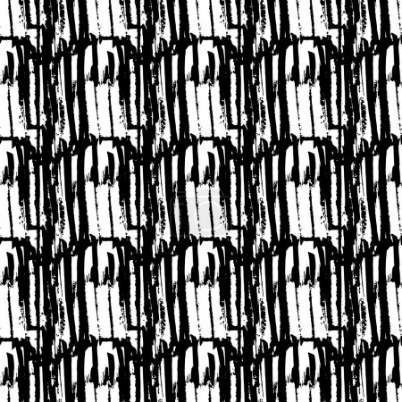 Illustration for Vector seamless pattern. Abstract background with brush strokes. Monochrome hand drawn texture. Modern graphic design. - Royalty Free Image