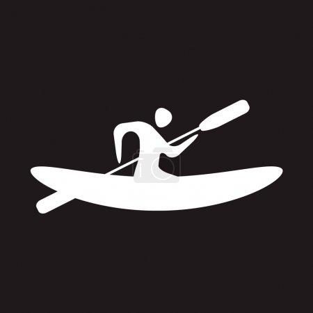 Illustration for Kayak and paddle square icon. Vector illustration of Outdoor activities elements - kayak and rowing oar. Kayak isolated, sea kayak - Royalty Free Image