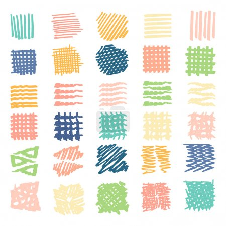 Illustration for Drawn textures .Different shapes scribble, line, spot, drop, Vector illustration. Isolated. - Royalty Free Image