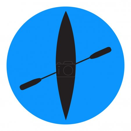 Kayak and paddle square icon.
