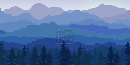 View of blue mountains with forest