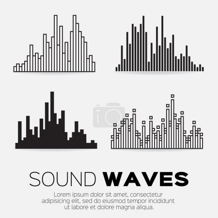 Illustration pour Musique ondes sonores réglées. Technologie d'égalisation du son audio, pulsation musicale. Illustration vectorielle - image libre de droit