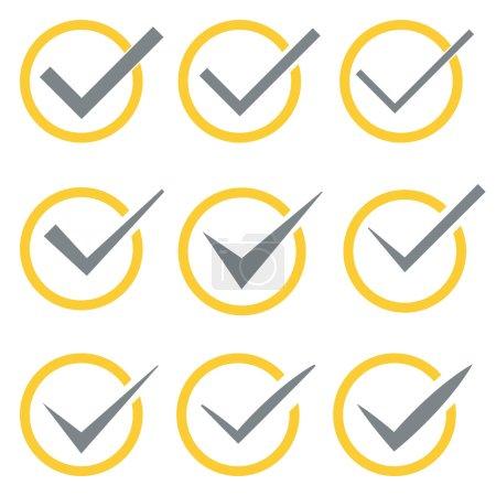 Illustration pour Ensemble de neuf coches vectorielles différentes ou coches en cercles conceptuel d'acceptation de confirmation positif passé accord de vote vrai ou l'achèvement des tâches sur une liste - image libre de droit