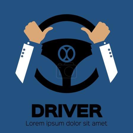 Illustration pour Élément de conception du conducteur avec les mains tenant le volant. Illustration vectorielle . - image libre de droit